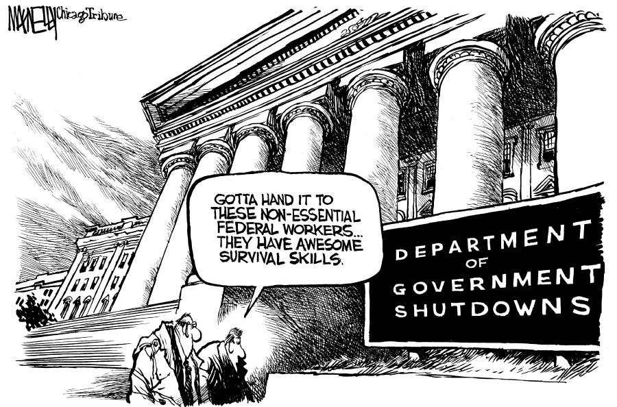 MacNelly_edtoon_120795 Playing Hardball on a Government Shutdown Is the only Short-Run Way to Make Fiscal Progress